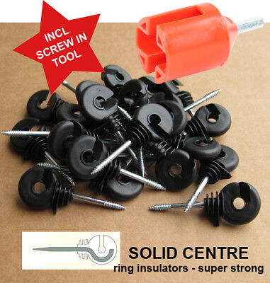 Ring Insulators x 100 - Superior Electric Fence Rings + FREE Screw In Tool