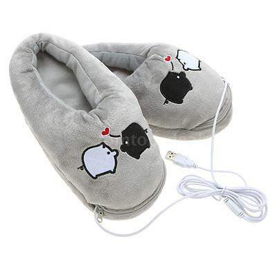 1 Pair Plush USB Foot Warmer Shoes Electric Heating Slipper Cute Rabbits-Pink!