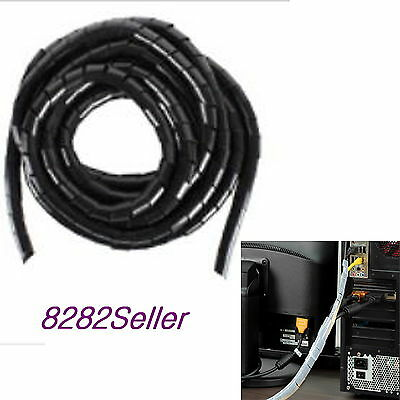 5M 15FT Black 24mm Outer Dia Spiral Cable Wire Wrap Tube Computer Manage Clear