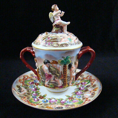 Rare Antique Capodimonte Porcelain Scenic Lidded Chocolate Cup & Underplate #3