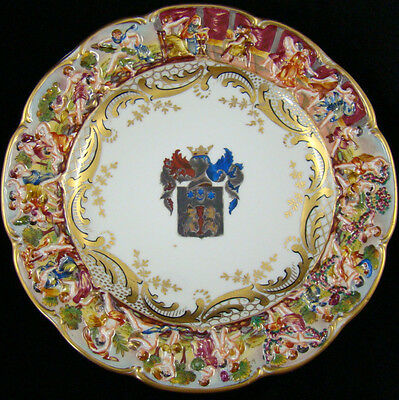 19th Century Capodimonte Coat of Arms Armorial Porcelain Plate Relief Gilded #5