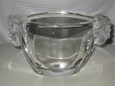 """SEVRES CRYSTAL """"ART DECO"""" VASE WITH FROSTED HANDLES [NEW]"""