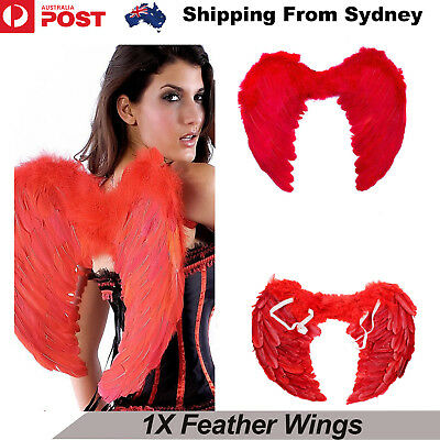Red Feather Wing Angel Fairy Adults Fancy Dress Costume Halloween Party cosplay