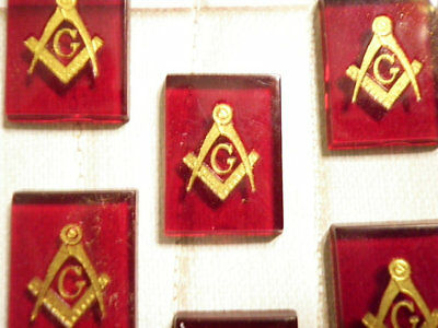 6 PC LOT Vintage Lucite 18x13mm Red Masonic Cabochons