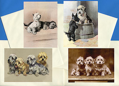 Dandie Dinmont Terrier Pack Of 4 Vintage Style Dog Print Greetings Note Cards #2