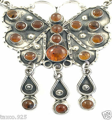 Taxco Mexican Sterling Silver Amber Butterfly Necklace Mexico