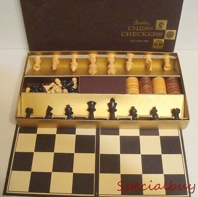 Vintage Board Game Chess & Checkers Set No.303 Cavalier Hand Finished wood pcs.