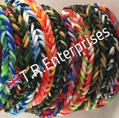 LoomAstic Bands ARMY CAMO CAMOUFLAGE  LOOM BANDS - 300 bands / 12 clips / hook