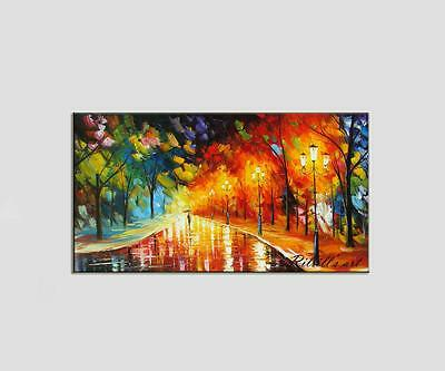 """40"""" ORIGINAL Palette Knife Oil Painting Landscape Rainy Night Forest Coutry Road"""