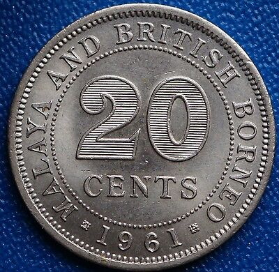 1961 Malaya & British Borneo 20 Cents KM# 3 MS UNC Coin