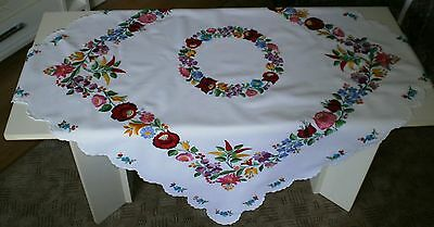 Hungarian hungary Kalocsa new hand embroidered floral tablecloth gorgeous work