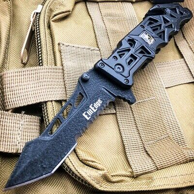 "9"" MILITARY Camo Tactical ARMY Spring Assisted Open Folding Pocket Knife BLACK"