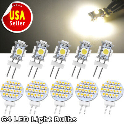 10pcs G4 5050/1210 SMD 5/9/12/24/27 LED Warm/Pure White Car RV Auto Light Bulbs