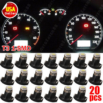 20x Pure White 1206 SMD T3 LED Instrument Panel DashBoard Interior Lights Bulbs