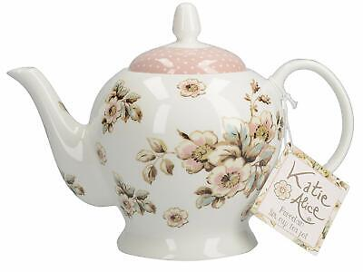 KATIE ALICE 'Cottage Flower' SHABBY CHIC 6 Cup PORCELAIN TEAPOT Vintage Inspired