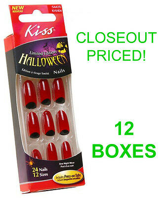 Closeout! 12 New Boxes Kiss Halloween Nails,red Witch Costume Nail,khw04