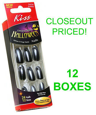 Closeout! 12 New Boxes Kiss Halloween Nails,black Spider Costume Nail,khw03