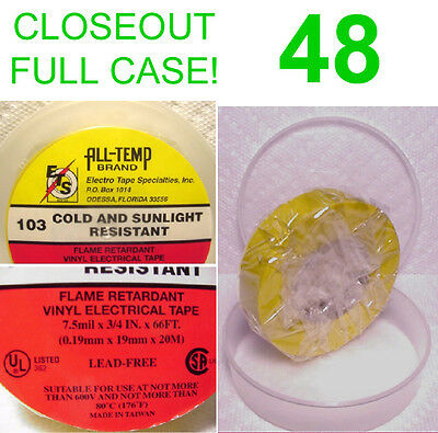 CLOSEOUT FULL CASE! 48 NEW ROLLS ALL TEMP VINYL ELECTRICAL TAPE,7.5m YELLOW