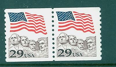 2523c 29c Flag over Rushmore Toledo Brown Color Coil Pair Mint NH