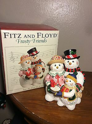 Fitz and Floyd Frosty Friends Christmas Musical Snowmen Plays We Wish You A...