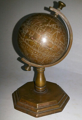 Astrological Globe of brass and copper / Table piece / Show piece / brass figure