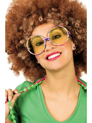 70s Flower Power Brille Tammy groß rund bunt Mottoparty