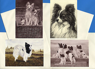 Papillon Pack Of 4 Vintage Style Dog Print Greetings Note Cards