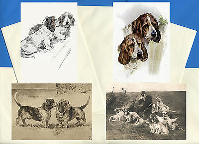 Petit Basset Griffon Vendeen 4 Vintage Style Dog Print Greetings Note Cards