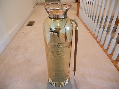 GENERAL QUICK AID BRASS ANTIQUE FIRE EXTINGUISHER TORPEDO SHELL