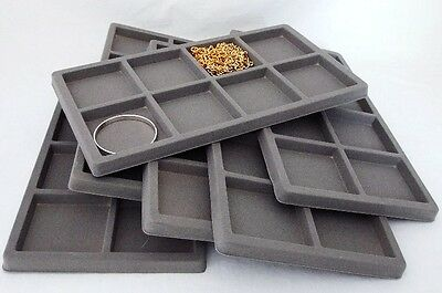 Lot Of 6  8 Slot Flocked Insert For Large Display Tray Gray