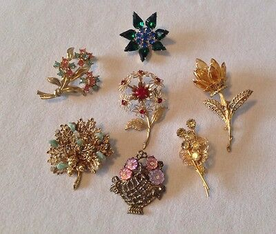 Vintage Brooch Pin Lot of 7 Flower Power Basket Bouquet Rhinestone Unique