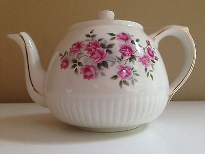 Teapot Ellgreave Wood & Sons 6 Cup Ironstone  Climbing Rose, White