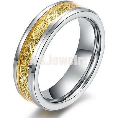 6mm Gold Celtic Dragon Tungsten Carbide Ring Mens Womens Jewelry Wedding Band