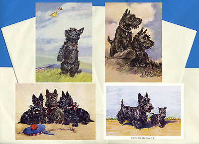 SCOTTISH TERRIER PACK OF 4 VINTAGE STYLE DOG PRINT GREETINGS NOTE CARDS #1