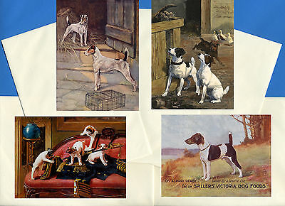 Smooth Fox Jack Russel Terrier 4 Vintage Style Dog Print Greetings Note Cards #4