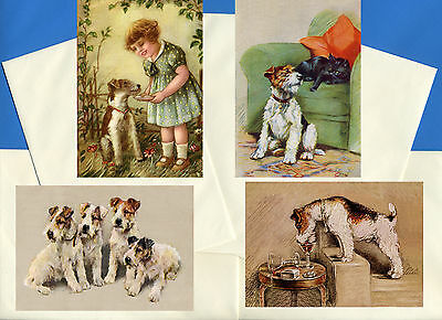 Wire Fox Jack Russell Terrier 4 Vintage Style Dog Print Greetings Note Cards #1
