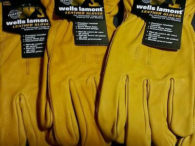 (3) Wells Lamont Work Gloves Construction Leather Cowhide Premium LARGE NEW !!!