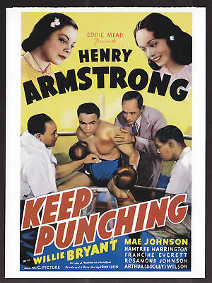 KEEP PUNCHING Henry Armstrong Poster Reprint POSTCARD