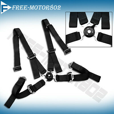Jdm Pair Shoulder Strap 4 Point Harness Camlock Racing Seats Belts Black Acura