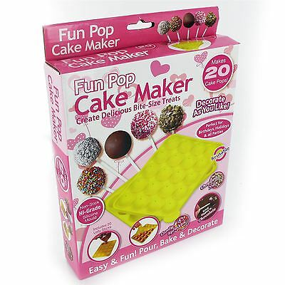 New Non Stick Silicone Lillipop Cake Pops Mould Baking Tray Birthday Party Set