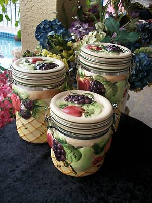 gourmet home accents three piece raised fruit majolica style KITCHEN CANISTERS