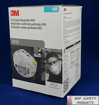 3M 8210 Dust Mask Respirator N95 Niosh Particulate Filter (3 Cases/24 Boxes)