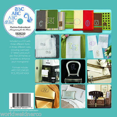 Designs in Machine Embroidery DIME Machine Embroidered Monograms for the Home