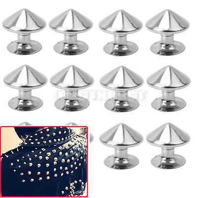 100Pcs Punk Rock Fashion 10mm Metal Silver Studs Rivets DIY Bags Shoes Clothes