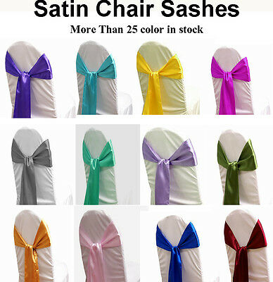 "100 pack 6"" x 108"" Satin Chair Cover Sash Bow Decor Wedding SHIP TO WORLD-WIDE"