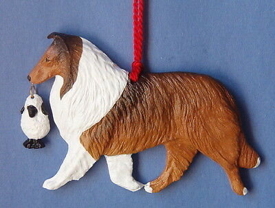 Collie with sheep-Sable-Sculpted artist dog breed ornament!