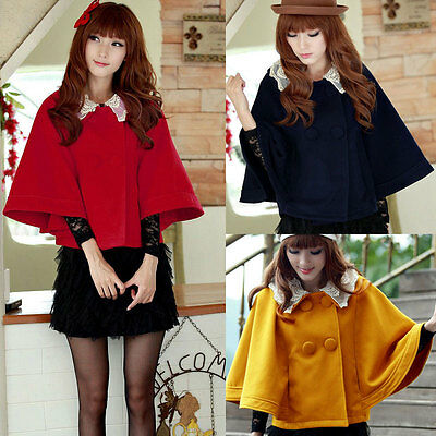 Women Batwing Sleeve Cape Coat Double Breasted Lace Collar Cloak Outerwear Coat