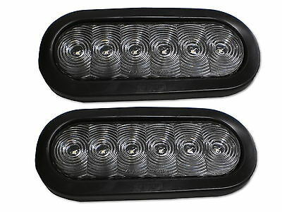 "TWO 6"" oval White USA MADE LED Back Up Tail Reverse Light TecNiq Trailer RV"