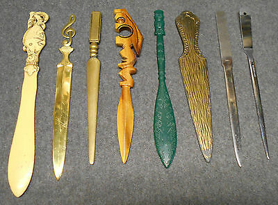 Collection of 8 Letter Openers Fish Brass Music Note Tiki Dagger - Free Shipping