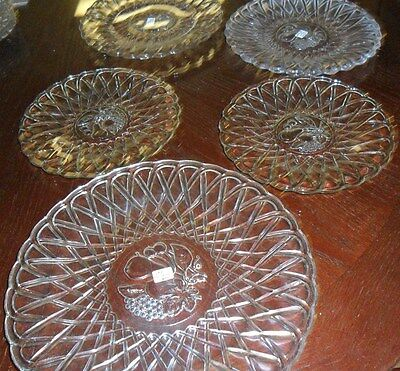 5 pc set Indiana Glass Clear  Pretzel   PLATES WITH FRUIT CENTER @40s/50s/60s